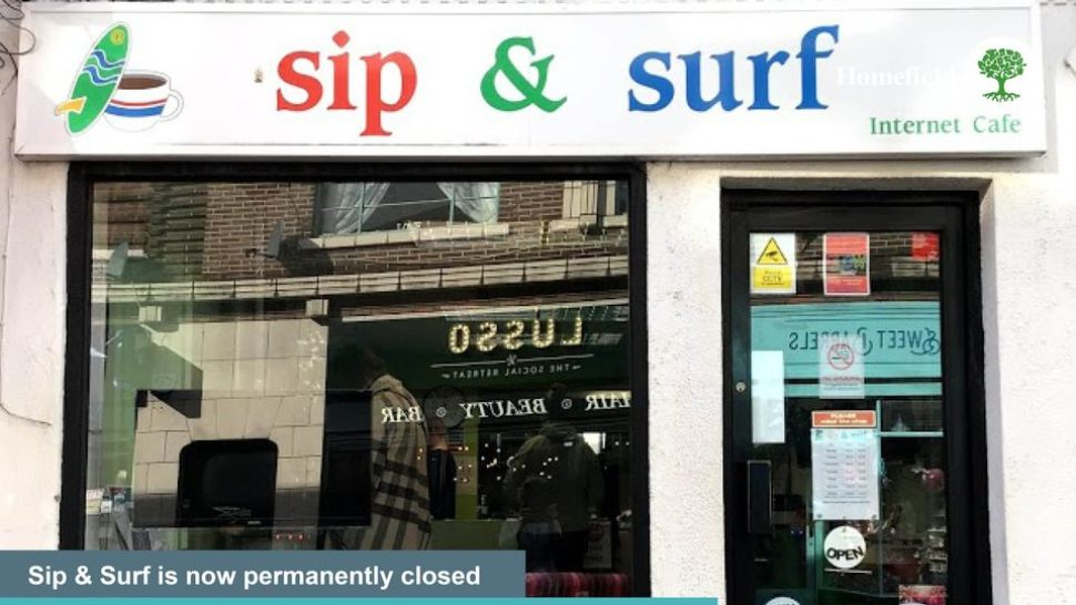 Sip and Surf shopfront, saying Sip and Surf is now permanently closed, goodbye from all the team