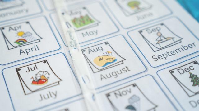 Calendar using symbols for each month