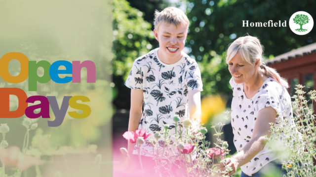 Open Days graphic showing student and tutor admiring plants at horticulture