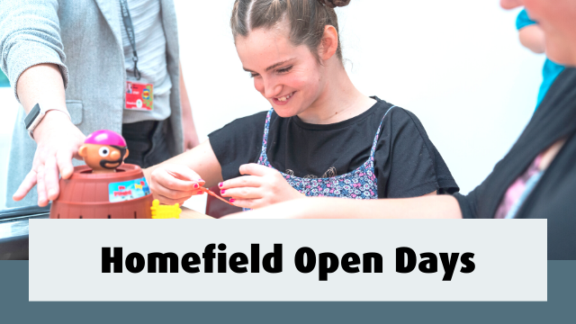 Student having fun playing a game. Text reads- Homefield Open Days