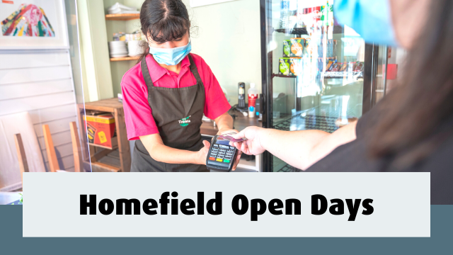 Student at work using card machine. Text reads- Homefield Open Days